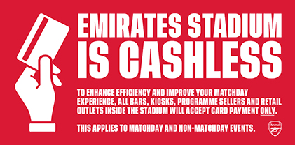 Emirates Stadium is cashless
